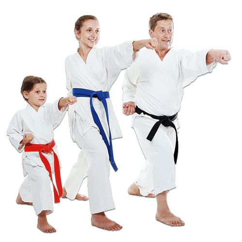 Martial Arts Lessons for Families in Aurora IL - Man and Daughters Family Punching Together